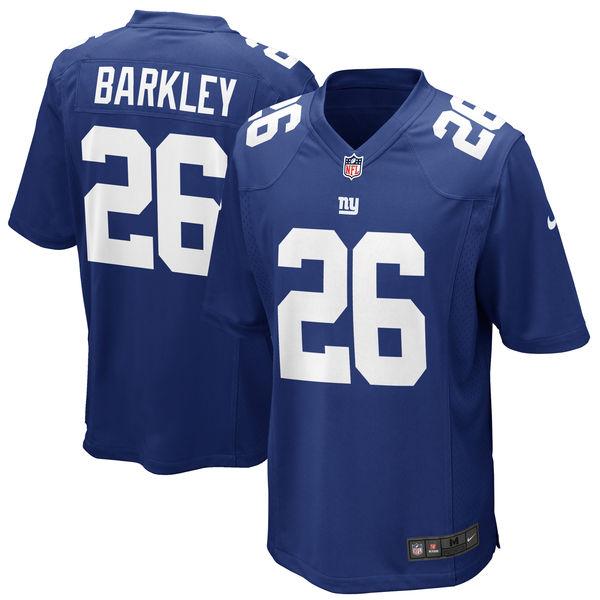 Nike Giants 26 Saquon Barkley Royal 2018 NFL Draft Pick Elite Jersey