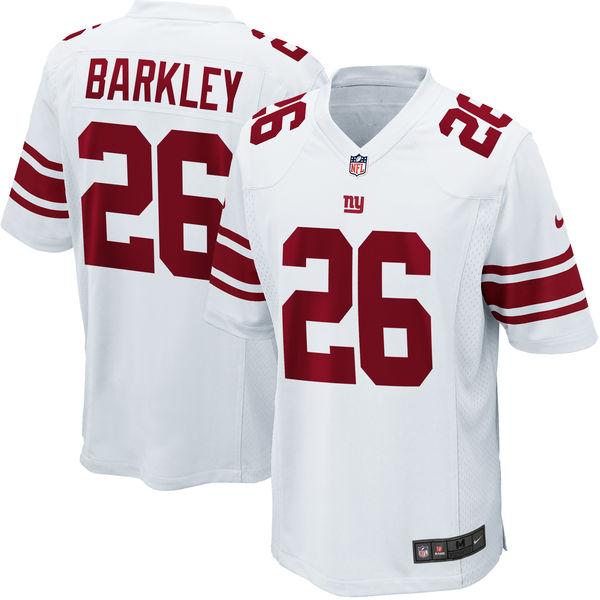 Nike Giants 26 Saquon Barkley White 2018 NFL Draft Pick Elite Jersey