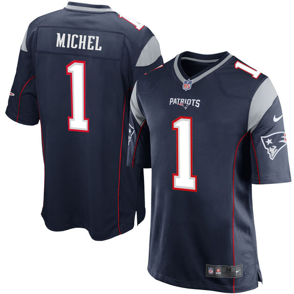 Nike Patriots 1 Sony Michel Navy 2018 NFL Draft Pick Elite Jersey