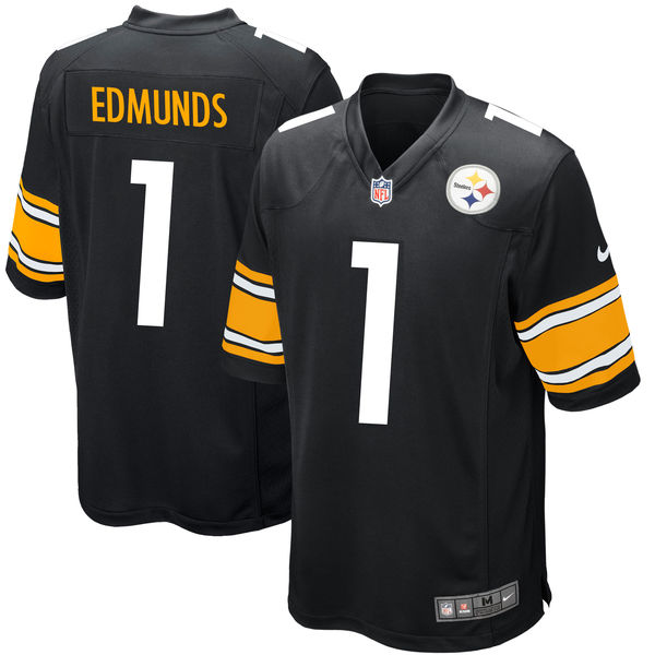 Nike Steelers 1 Terrell Edmunds Black 2018 NFL Draft Pick Elite Jersey