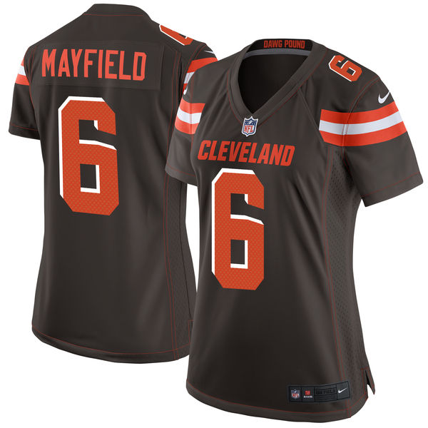 Nike Browns 6 Baker Mayfield Brown Women 2018 Draft Pick Game Jersey
