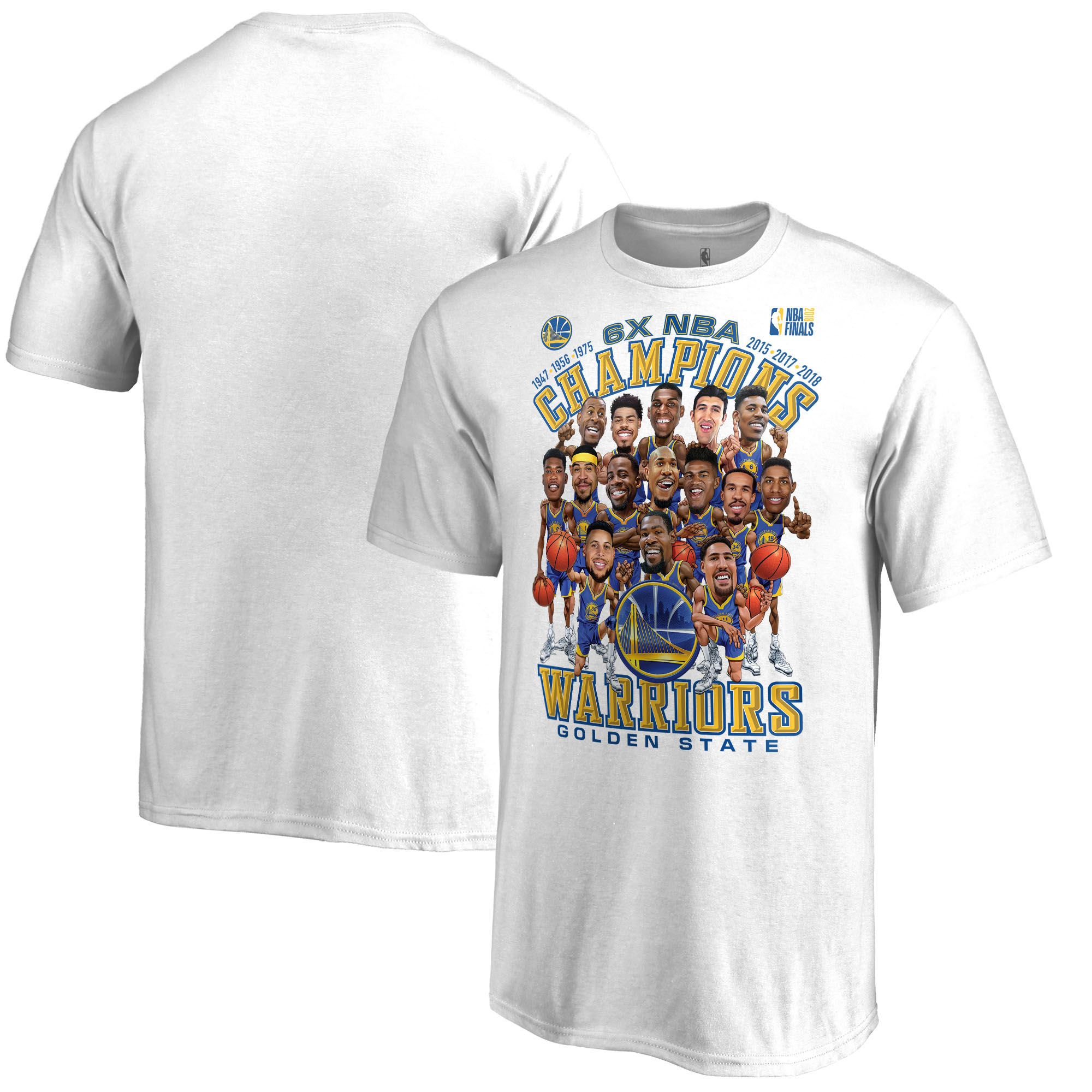 Golden State Warriors Fanatics Branded 2018 NBA Finals Champions Caricature T-Shirt White