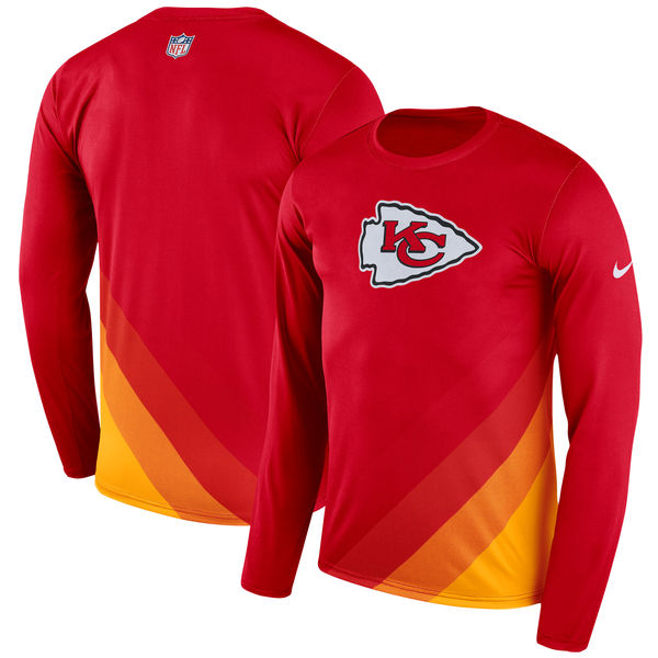 Men's Kansas City Chiefs Nike Red Sideline Legend Prism Performance Long Sleeve T-Shirt