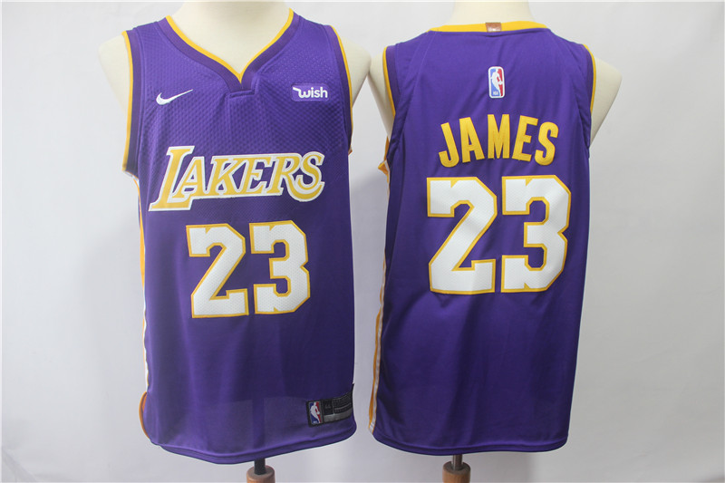 Lakers 23 Lebron James Purple Nike Authentic Jersey