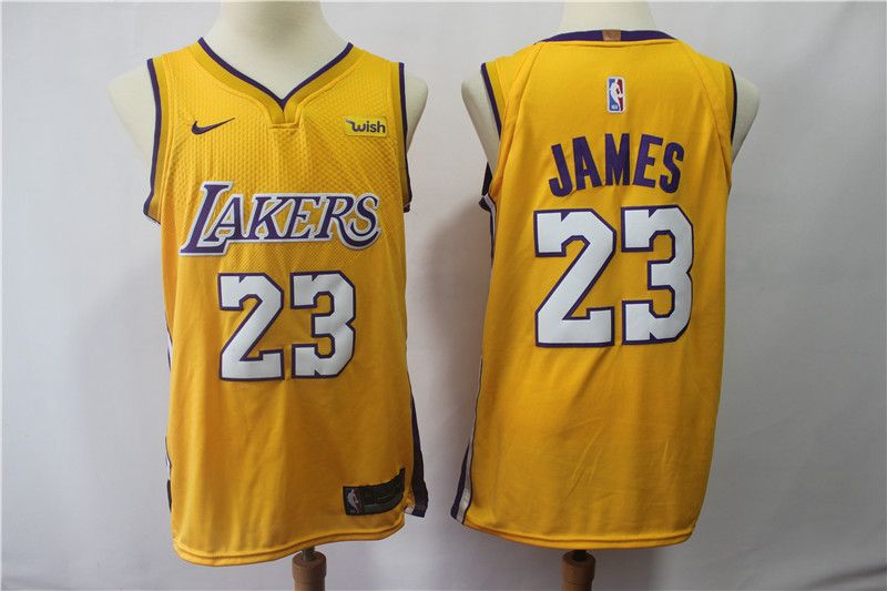 Lakers 23 Lebron James Yellow Nike Authentic Jersey