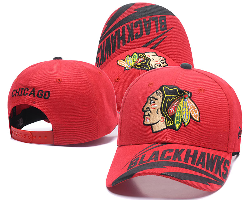 Blackhawks Team Logo Red Adjustable Hat LH