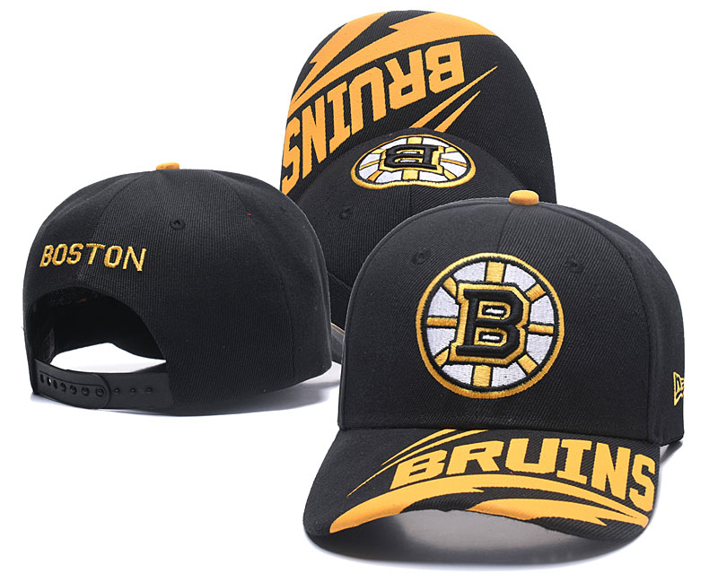 Bruins Team Logo Black Adjustable Hat LH