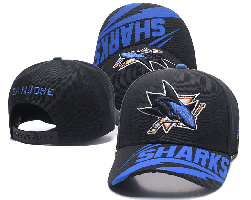 Sharks Team Logo Black Adjustable Hat LH