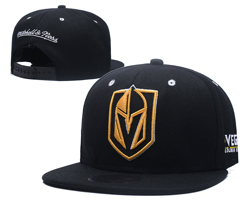 Vegas Golden Knights Team Logo Black Mitchell & Ness Adjustable Hat LH