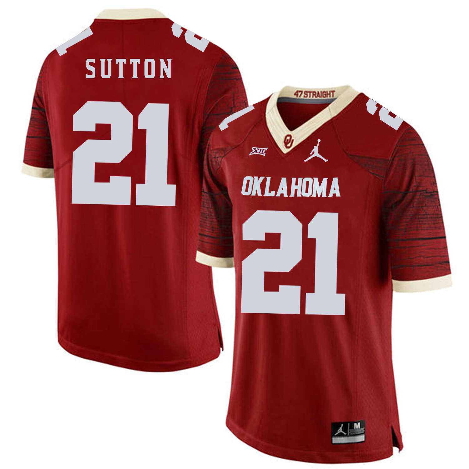 Oklahoma Sooners 21 Marcelias Sutton Red 47 Game Winning Streak College Football Jersey