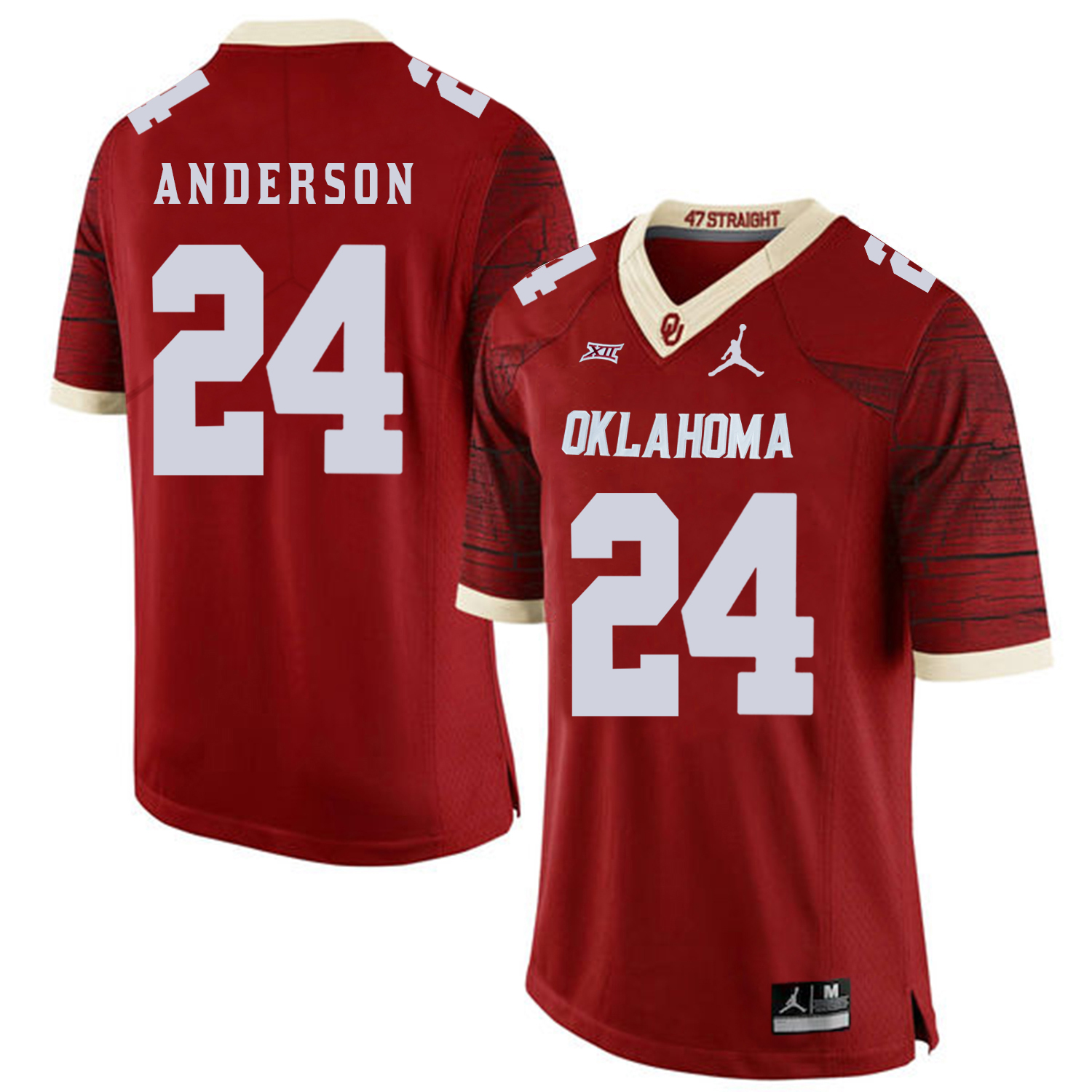 Oklahoma Sooners 24 Rodney Anderson Red 47 Game Winning Streak College Football Jersey