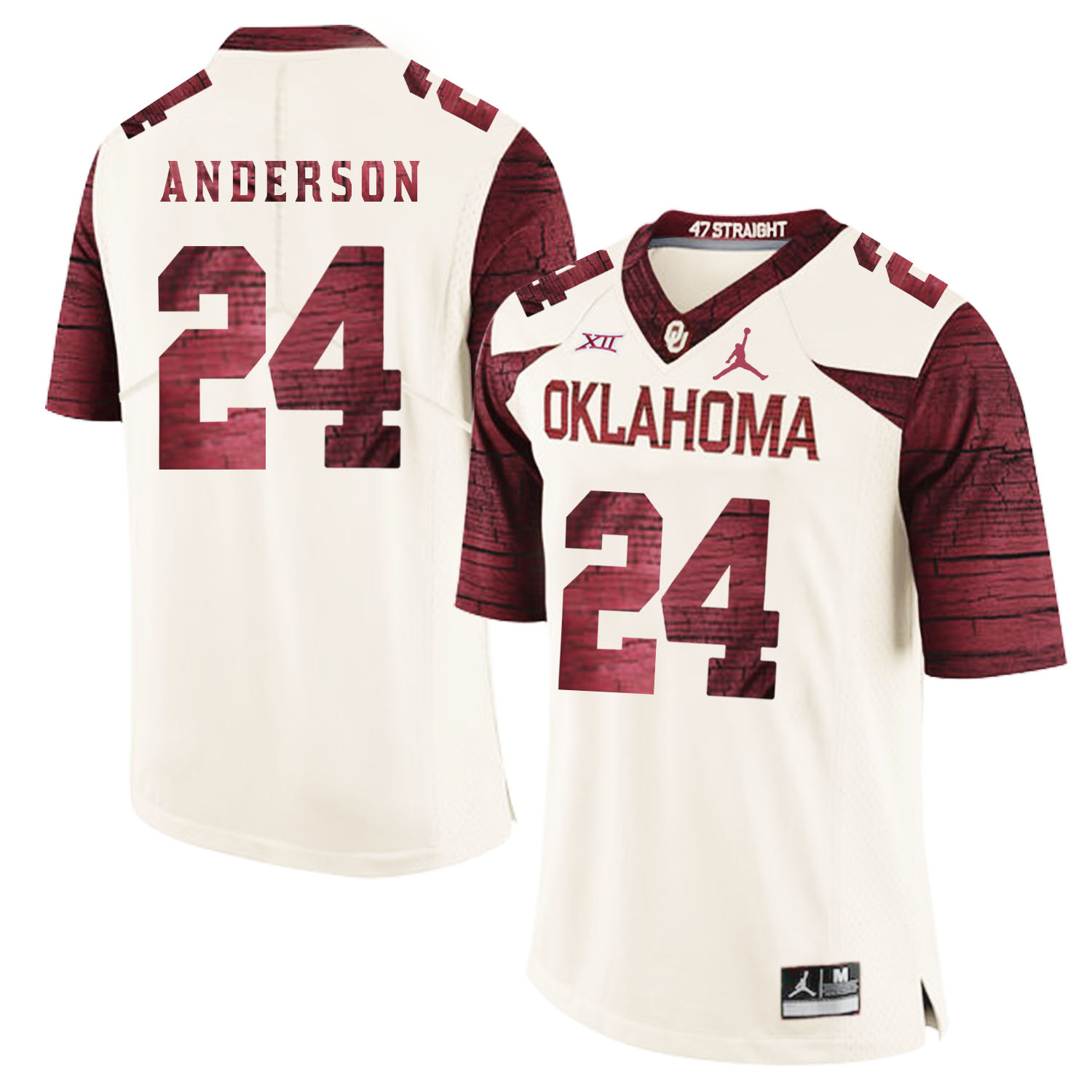 Oklahoma Sooners 24 Rodney Anderson White 47 Game Winning Streak College Football Jersey