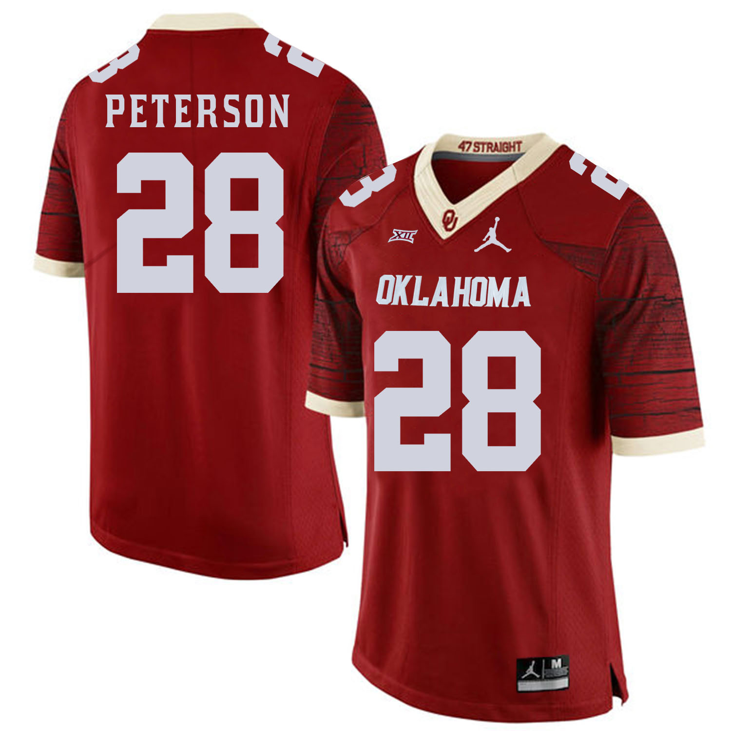 Oklahoma Sooners 28 Adrian Peterson Red 47 Game Winning Streak College Football Jersey