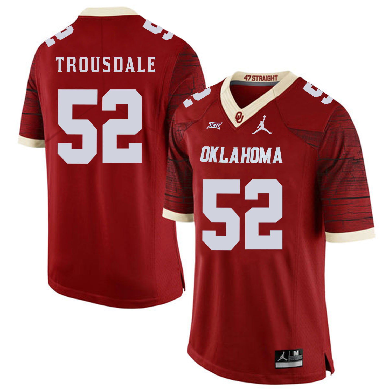 Oklahoma Sooners 52 Beau Trousdale Red 47 Game Winning Streak College Football Jersey