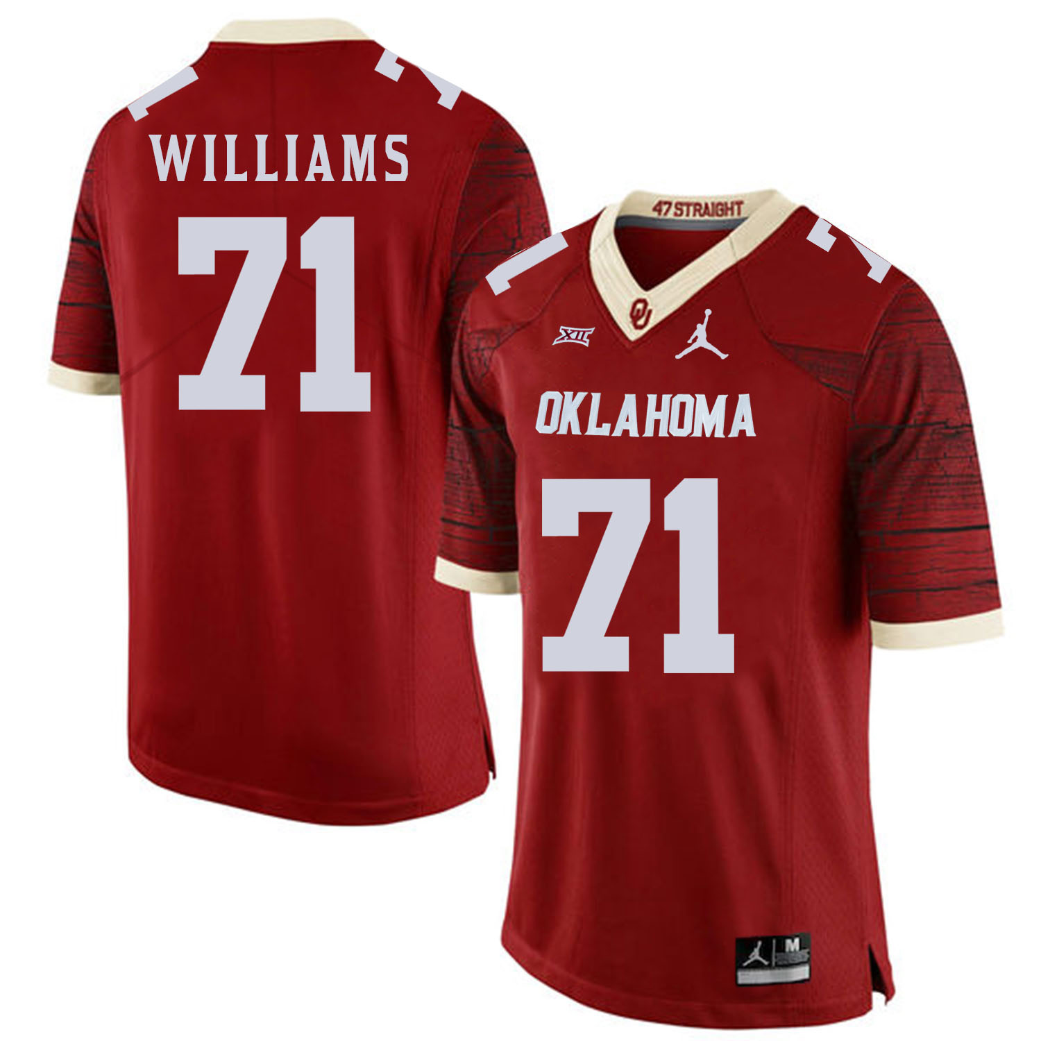 Oklahoma Sooners 71 Trent Williams Red 47 Game Winning Streak College Football Jersey
