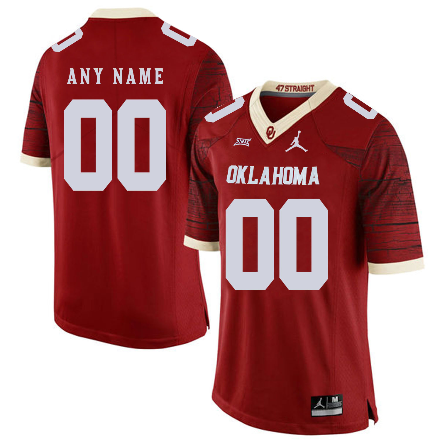 Oklahoma Sooners Men's Customized Red 47 Game Winning Streak College Football Jersey