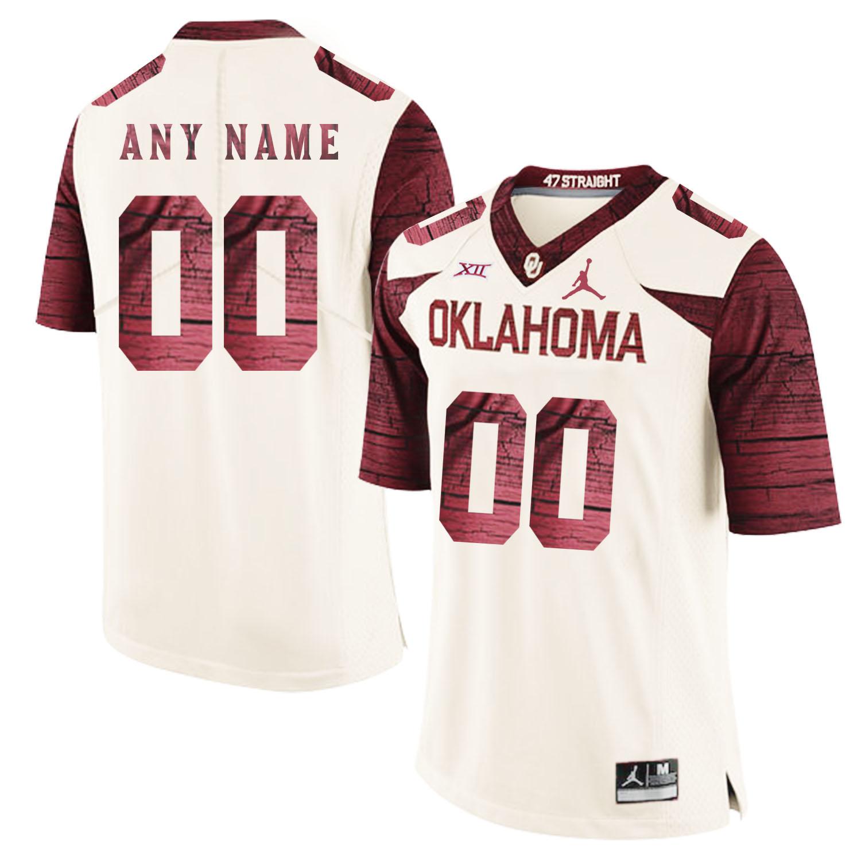 Oklahoma Sooners Men's Customized White 47 Game Winning Streak College Football Jersey