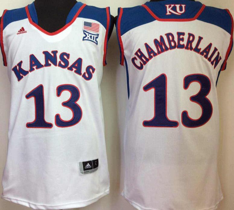 Kansas Jayhawks 13 Wilt Chamverlain White College Basketball Jersey