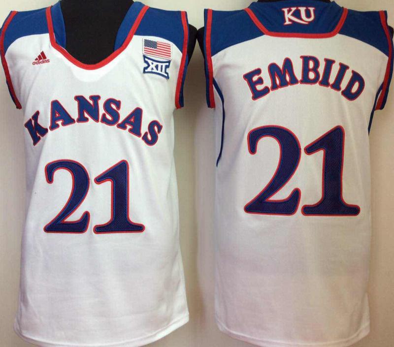 Kansas Jayhawks 21 Joel Embiid White College Basketball Jersey
