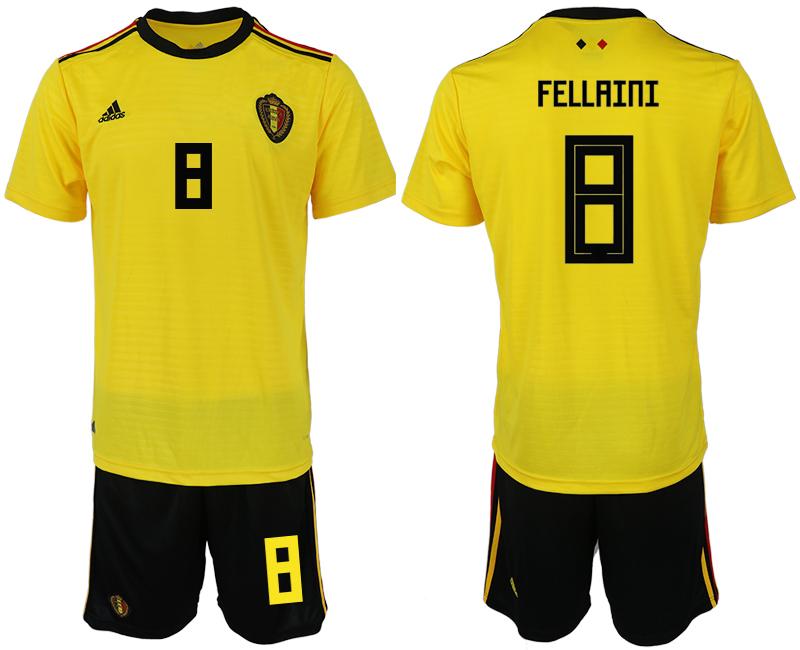 Belgium 8 FELLAINI Away 2018 FIFA World Cup Soccer Jersey