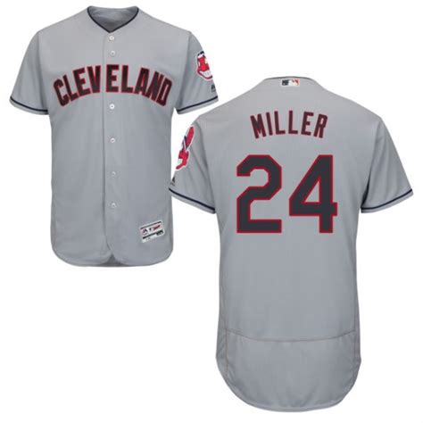 Indians 24 Andrew Miller Gray Flexbase Jersey