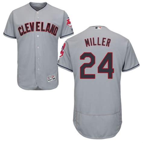 Indians 24 Andrew Miller Gray Flexbase Jersey