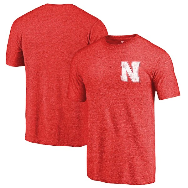 Nebraska Cornhuskers Fanatics Branded Scarlet Primary Logo Left Chest Distressed Tri-Blend T-Shirt