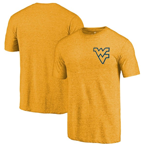 West Virginia Mountaineers Fanatics Branded Gold Primary Logo Left Chest Distressed Tri-Blend T-Shirt