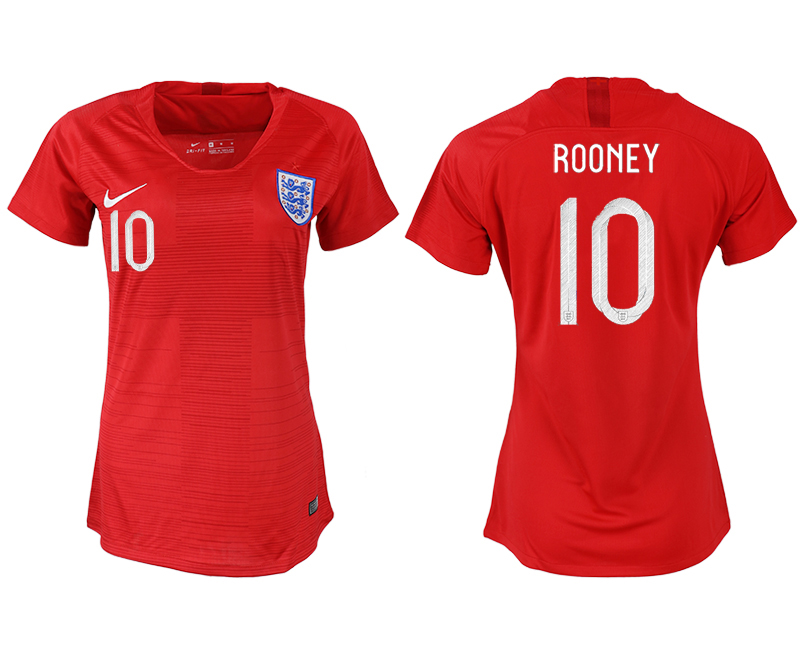 England 10 ROONEY Away Women 2018 FIFA World Cup Soccer Jersey