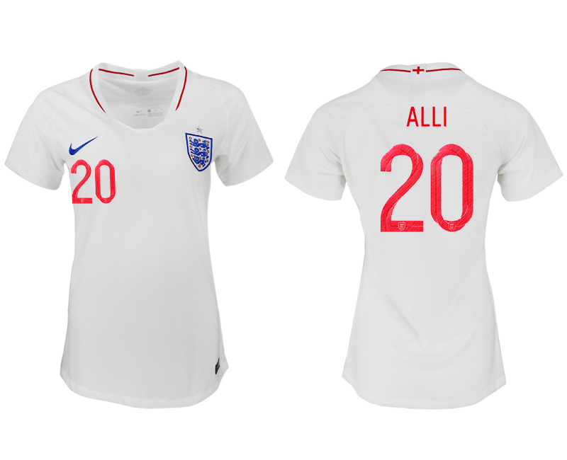 England 20 ALLI Home Women 2018 FIFA World Cup Soccer Jersey