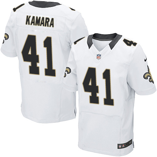 Nike Saints 41 Alvin Kamara White Elite Jersey