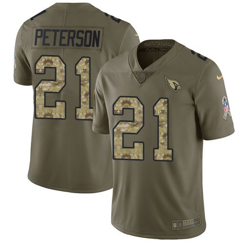 Nike Cardinals 21 Patrick Peterson Olive Camo Salute To Service Limited Jersey