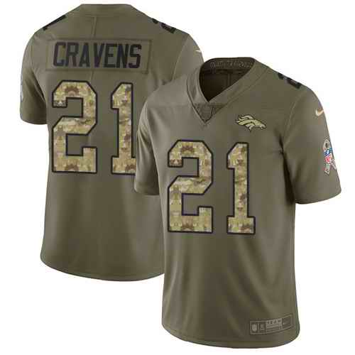 Nike Broncos 21 Su'a Cravens Olive Camo Salute To Service Limited Jersey
