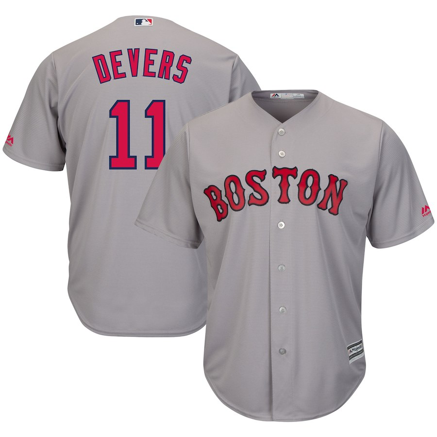 Red Sox 11 Rafael Denvers Gray Cool Base Jersey