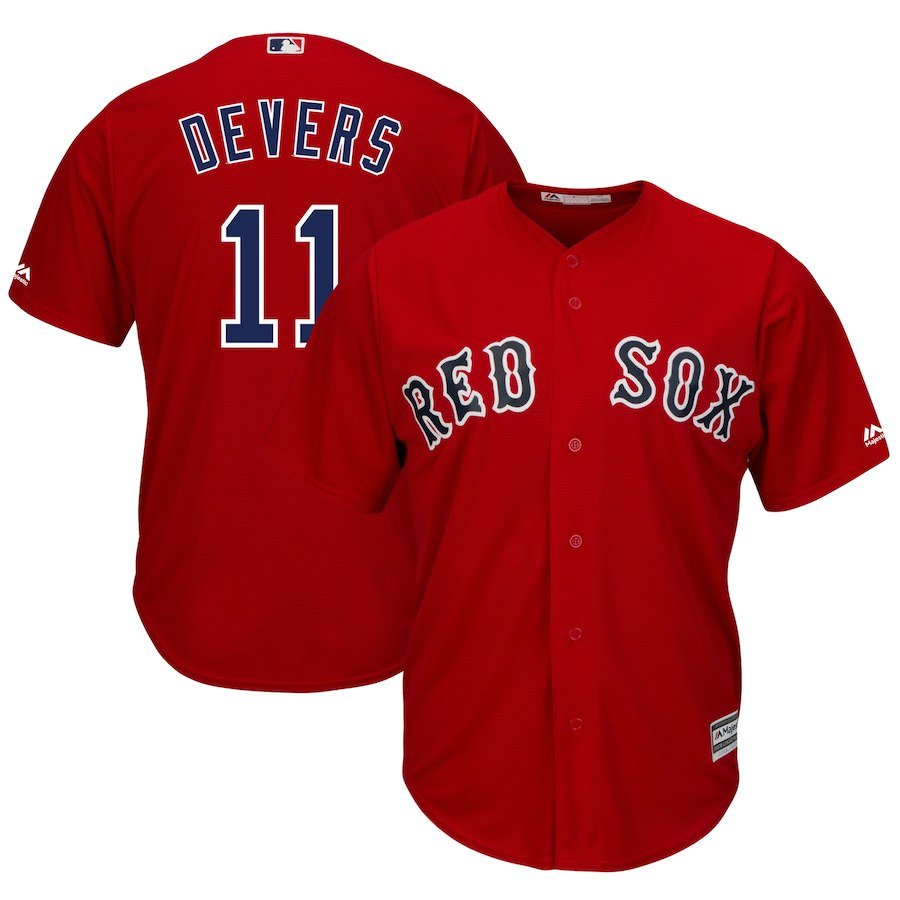 Red Sox 11 Rafael Denvers Red Cool Base Jersey