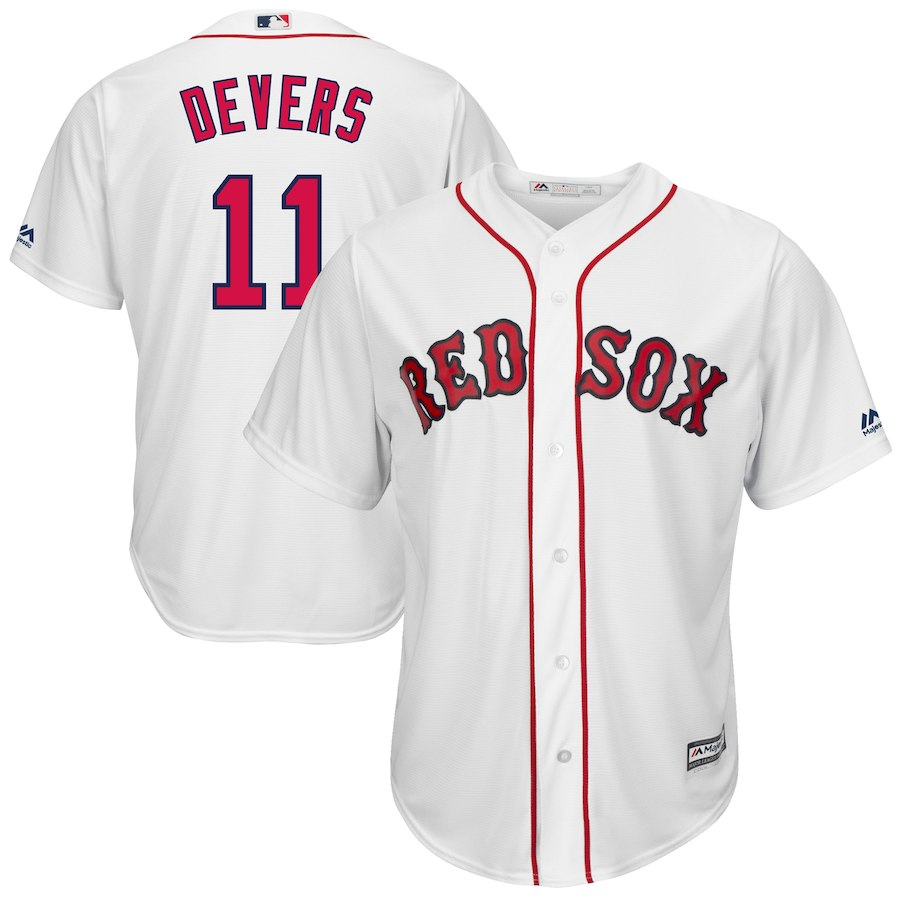 Red Sox 11 Rafael Denvers White Cool Base Jersey