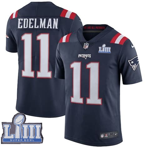Nike Patriots 11 Julian Edelman Navy Youth 2019 Super Bowl LIII Color Rush Limited Jersey