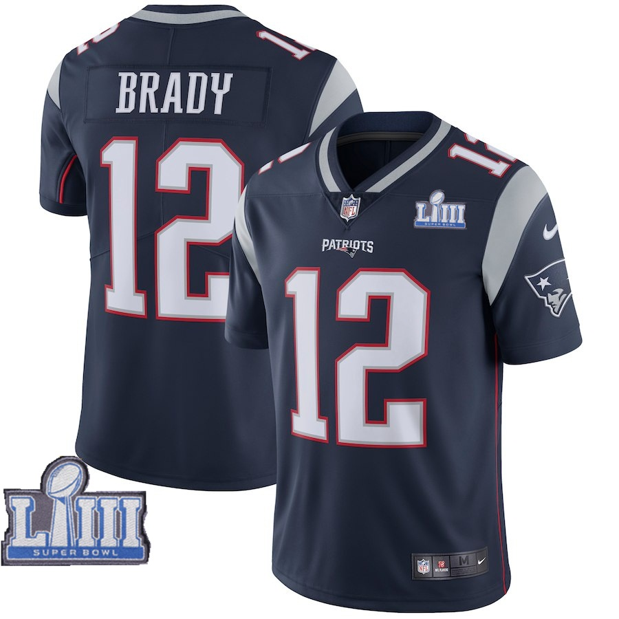 Nike Patriots 12 Tom Brady Navy 2019 Super Bowl LIII Vapor Untouchable Limited Jersey