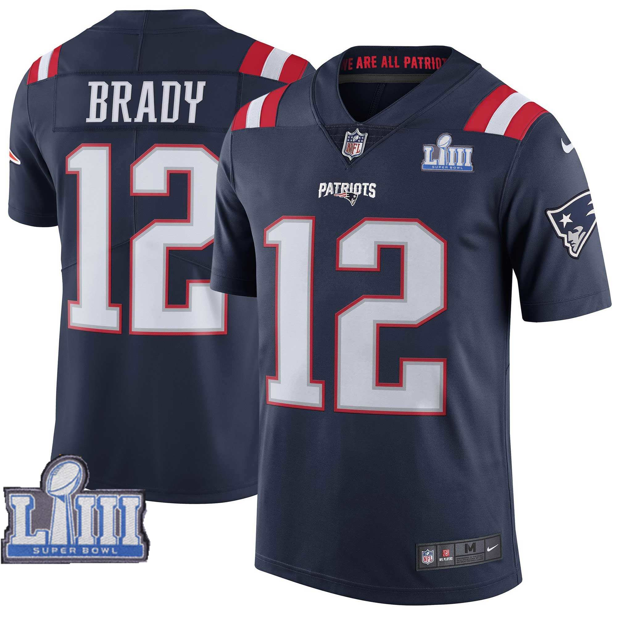 Nike Patriots 12 Tom Brady Navy Youth 2019 Super Bowl LIII Color Rush Limited Jersey