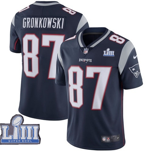 Nike Patriots 87 Rob Gronkowski Navy 2019 Super Bowl LIII Vapor Untouchable Limited Jersey