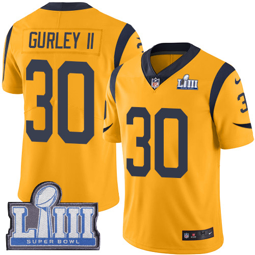Nike Rams 30 Todd Gurley II Gold Youth 2019 Super Bowl LIII Color Rush Limited Jersey
