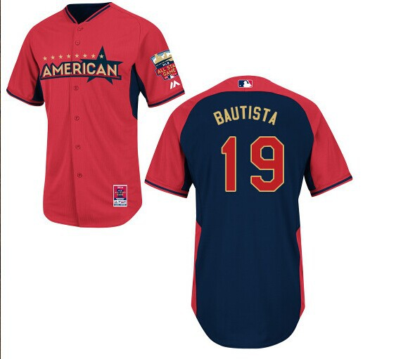 American League Blue Jays 19 Bautista Red 2014 All Star Jerseys