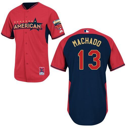 American League Orioles 13 Machado Red 2014 All Star Jerseys
