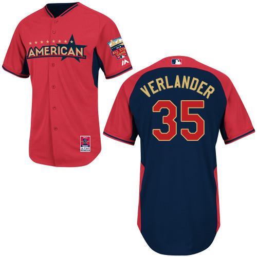 American League Tigers 35 Verlander Red 2014 All Star Jerseys