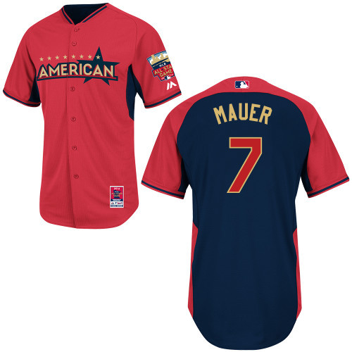 American League Twins 7 Mauer Red 2014 All Star Jerseys