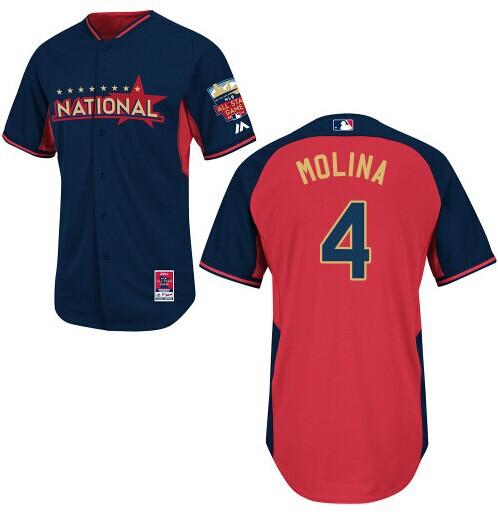 National League Cardinals 4 Molina Blue 2014 All Star Jerseys