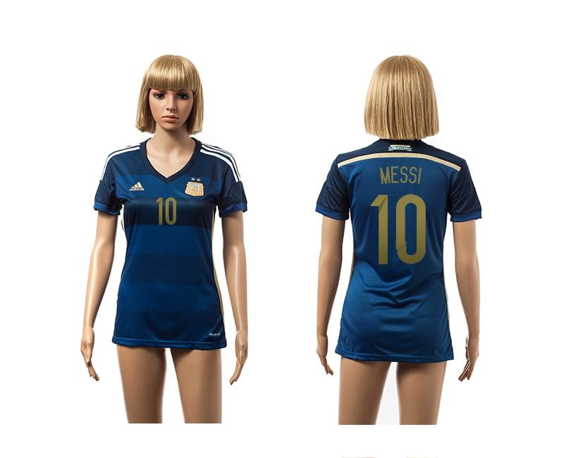 Argentina 10 Messi 2014 World Cup Away Soccer Women Jerseys
