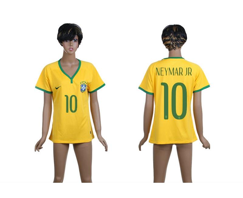 Brazil 10 Neymar Jr 2014 World Cup Home Soccer Women Jerseys