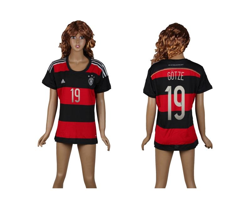 Germany 19 Gotze 2014 World Cup Away Soccer Women Jerseys