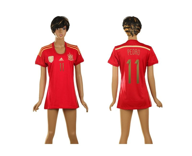 Spain 11 Pedro 2014 World Cup Home Soccer Women Jerseys